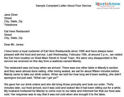 Business Complaint Letter For Poor Service Sle Complaint Letter
