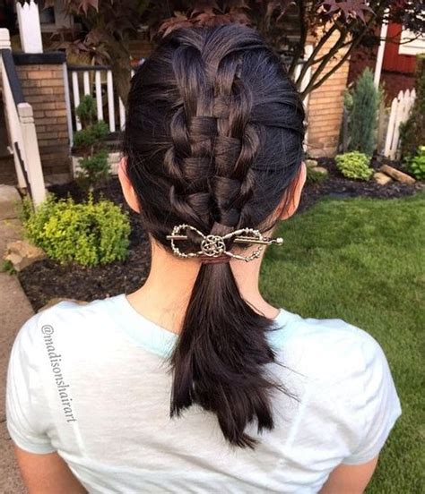 Macrame Hair Braid - braided ponytail hairstyles 40 ponytails with braids