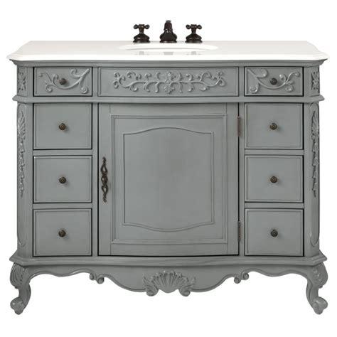 Home Decorators Collection Winslow 45 in. W Vanity in Antique Grey with Marble Vanity Top in