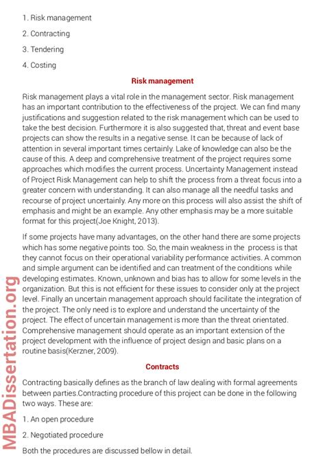 management dissertation exles mba dissertation sle on project management