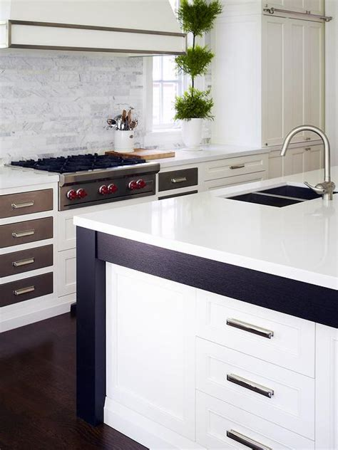 White Kitchen Cabinets With Wood Trim White Kitchen Island With Wood Trim Transitional Kitchen