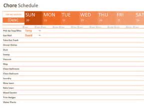 Microsoft Office Weekly Schedule Template by Chore Schedule Templates Office