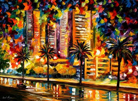 paint nite miami the lights of miami palette knife painting on