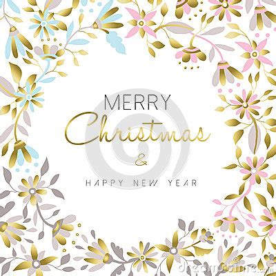 new year floral design merry and new year gold floral design stock