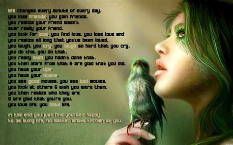 wallpaper of girl with quotes girls birds quotes life magazine wallpaper hd wallpapers