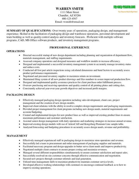 warehouse operations manager resume sle exle of a warehouse resume resume template sle
