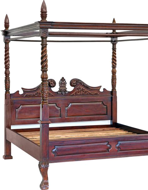 Javan Bed Canopy 160 X 200 Series 160x200cm canopy bed has mahogany style colonial ebay