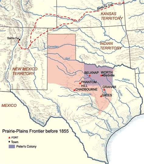 map of texas indians frontier forts