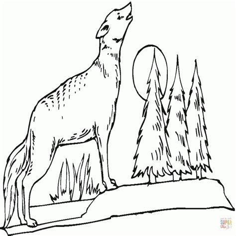imagenes de paisajes para dibujar tumblr dibujo de paisaje con lobo aullando a la luna para