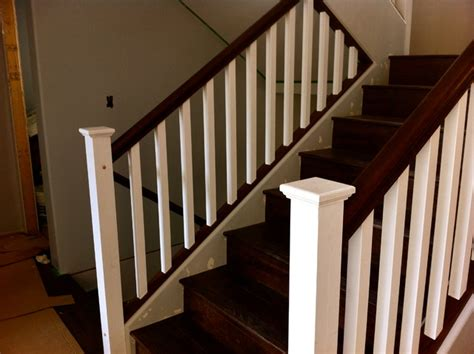 Staining Oak Stair Railings Painted Post And Stained Oak Rail Contemporary