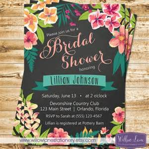 hawaiian themed bridal shower invitations chalkboard tropical bridal shower invitation island