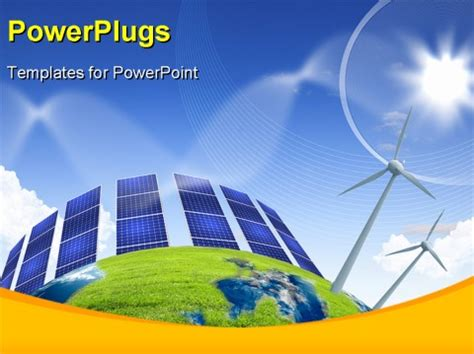 ppt templates free download wind energy collage with solar batteries as alternative source of