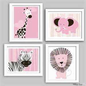 Wall Decor For Baby Room Nursery Wall Baby Nursery Decor Nursery Print Elephant Zebra Giraffe Set Of Four