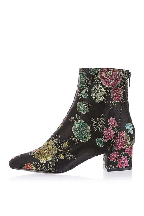 embroidered boots topshop kobra embroidered ankle boots lyst