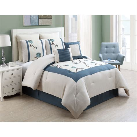bedroom white and blue king comforter sets for