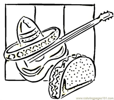 coloring pages mexican food free coloring pages of guitar template