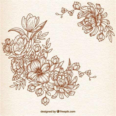 hand drawn flowers in retro style vector free download