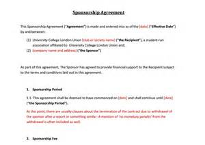 sponsorship agreement template 5 free sponsorship agreement templates excel pdf formats