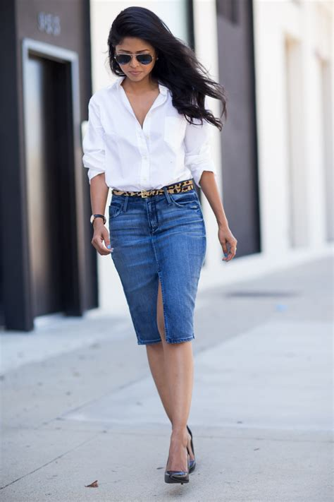 18465 White Flower Denim Skirt boyfriend shirt and denim skirt walk in