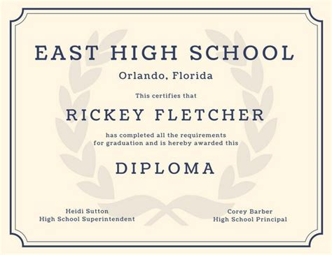30 free high school diploma template printable
