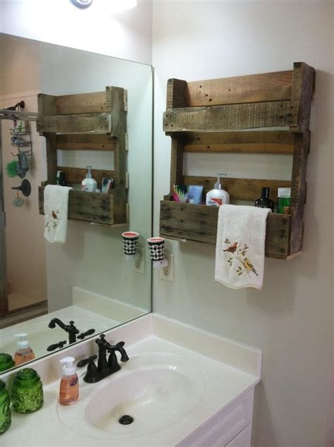 pallet ideas for bathroom a friend gave me a half pallet and i attached it to the
