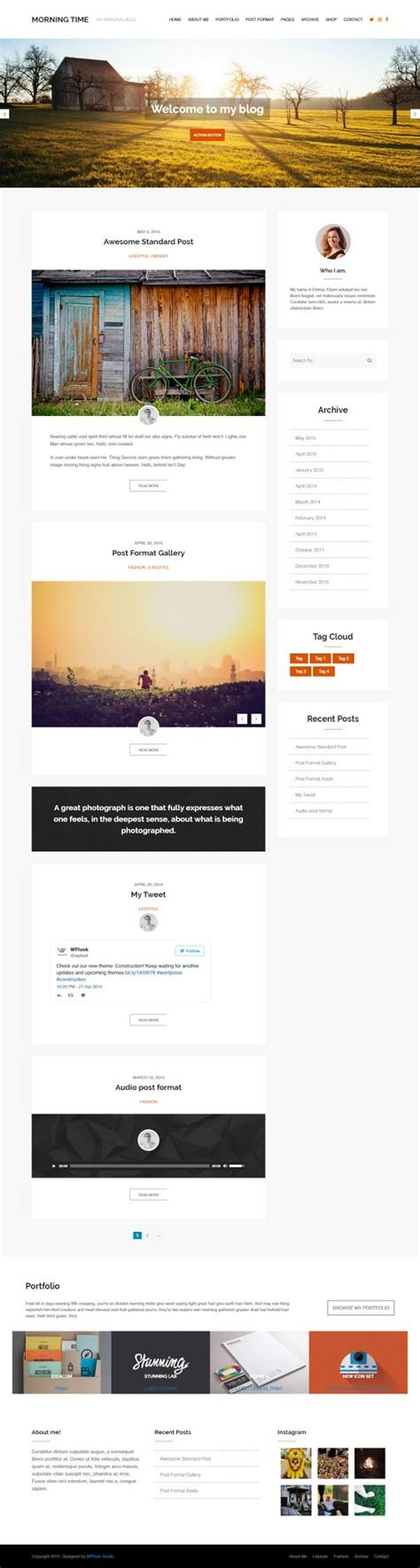theme blog responsive 40 modern free wordpress themes for blog in 2017