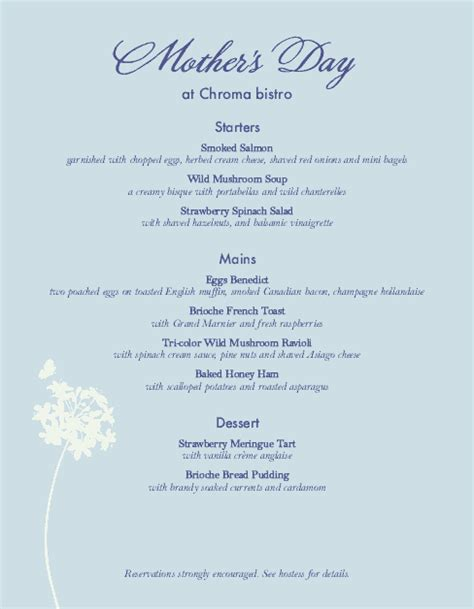 mothers day special menu s day menus