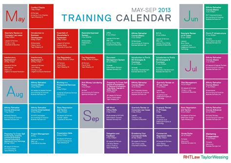 2018 Training Calendar Template