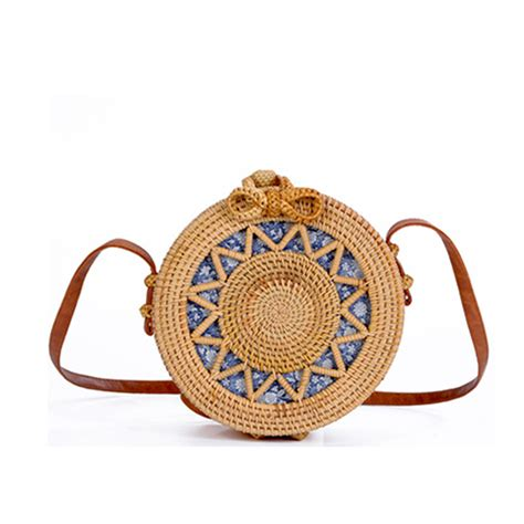 rattan bags embroidery shoulder crossbody beach straw