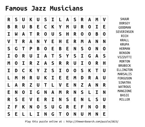 printable jazz word search download word search on famous jazz musicians