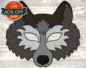 printable werewolf mask adult size halloween mask grey wind direwolf mask от