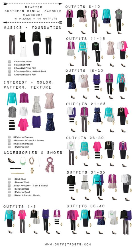 Business Casual Wardrobe by Starter Business Casual Capsule Wardrobe Checklist