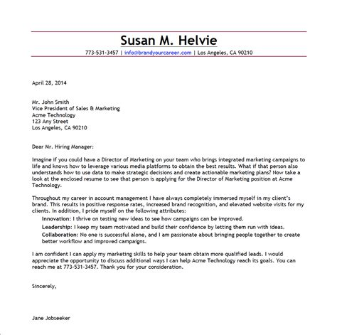 cover letter of marketing manager cover letter exles for senior marketing manager