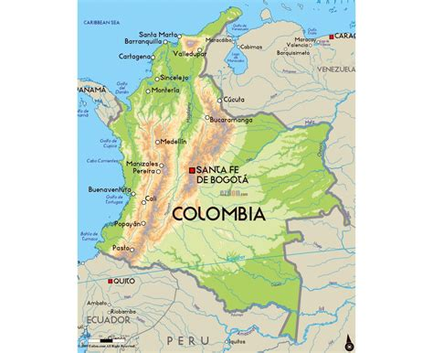 physical map of colombia maps of colombia detailed map of colombia in