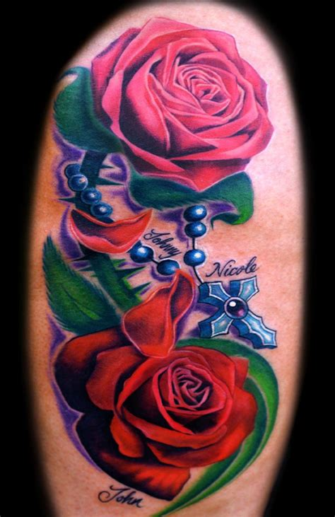 rose tattoo with cross roses and rosary tattoos