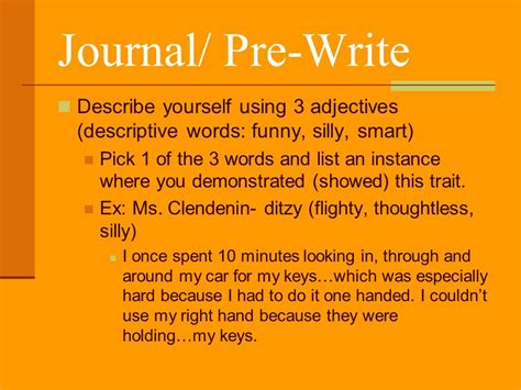 journal pre write describe yourself using 3 adjectives