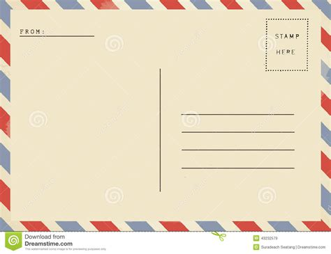 back of airmail blank postcard stock image image of