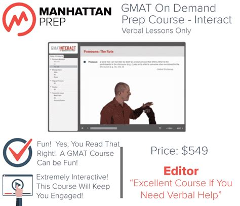 Gmat Verbal Section Practice Test by Manhattan Gmat Interact Prep Course Verbal Only