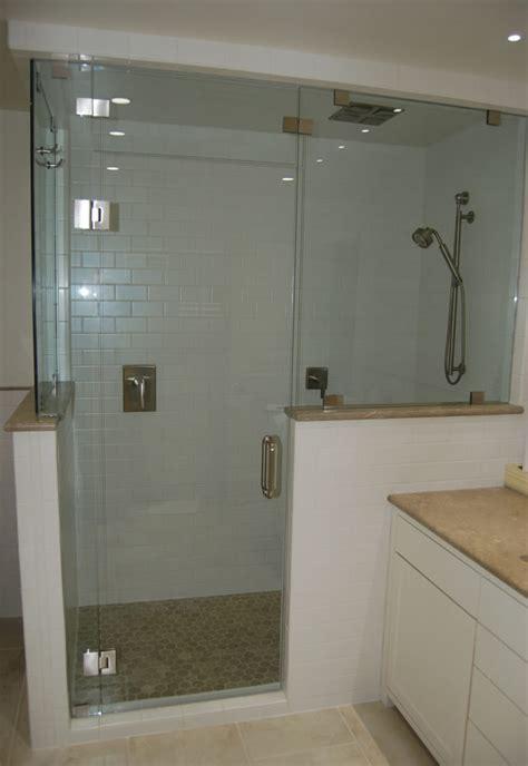 half wall shower half wall shower glass