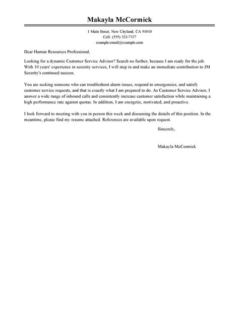 Customer Service Advisor Cover Letter by Leading Professional Customer Service Advisor Cover Letter Exles Resources