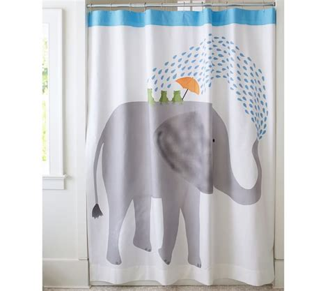 elephant shower curtain new pottery barn elephant frog shower curtain ebay