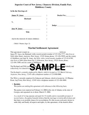 Divorce Settlement Agreement Fill Online Printable Fillable Blank Pdffiller Marriage Settlement Agreement Template