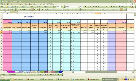 Sle Of A Spreadsheet by Ebay Spreadsheet Template Spreadsheet Templates For