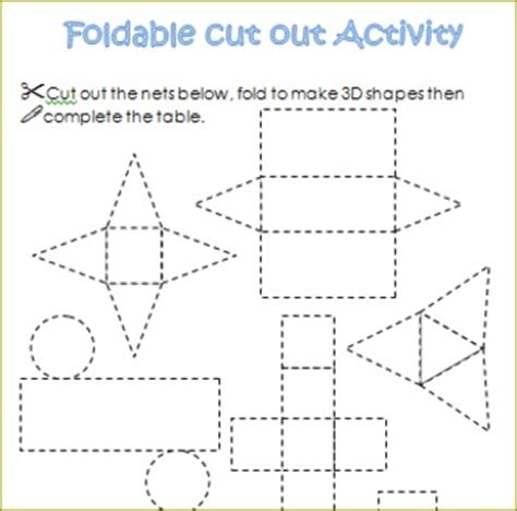 3d Shapes Paper Folding - 3d shapes worksheets sorting activities nets posters
