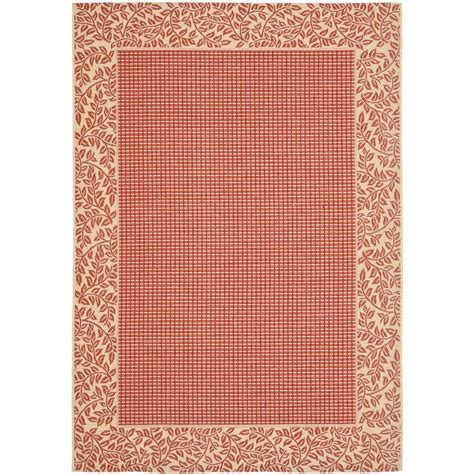 Safavieh Courtyard Red Natural 8 Ft X 11 Ft Indoor Outdoor Rugs Home Depot