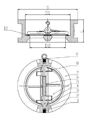 Ducktile Iron Wafer Check Valve cvc ductile iron wafer style check valve