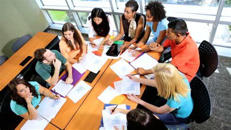 tutorial c classes close up male female multi ethnic teenagers sitting around