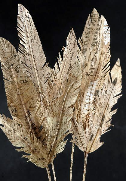Paper Feathers - paper feathers crafts using books