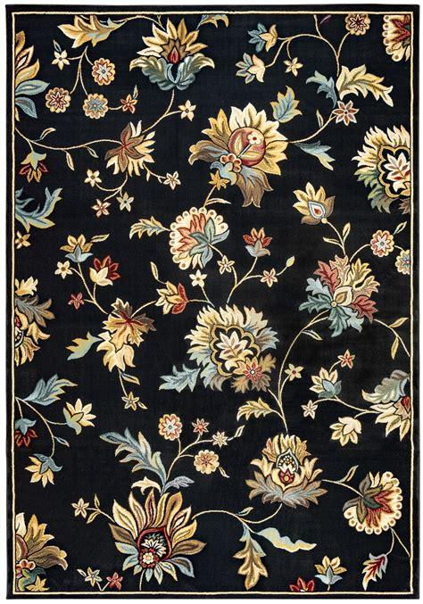 10 X 10 Black Area Rug - chateau floral pattern area rug in black beige blue 7 10