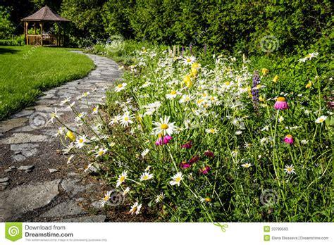 Backyard Cottage Plans Wildflower Garden And Path To Gazebo Stock Image Image